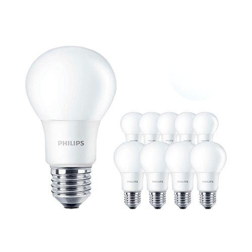 Lot de 10 Ampoules LED Philips CorePro 7.5-60W A60 E27 830   Blanc Chaud - Equivalent 60W