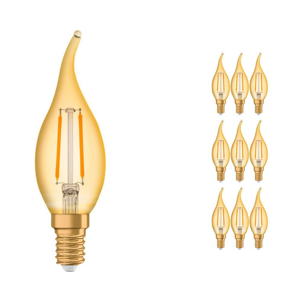 Lot 10x Osram Vintage 1906 LED classique E14 BA 1.5W 824 Filament Dorée | Remplacement 12W