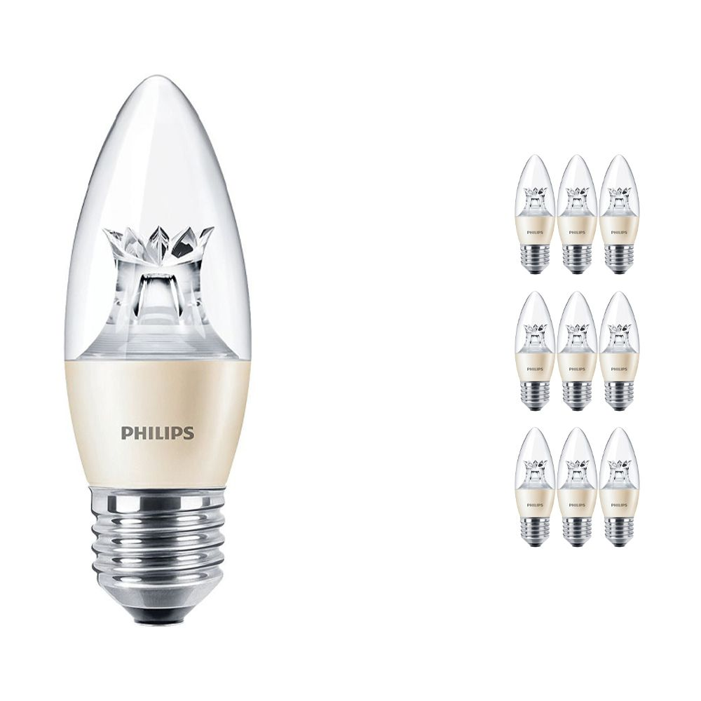 Lot 10x Philips LEDcandle E27 B38 6W 827 (MASTER)   DimTone Dimmable - Remplacement 40W